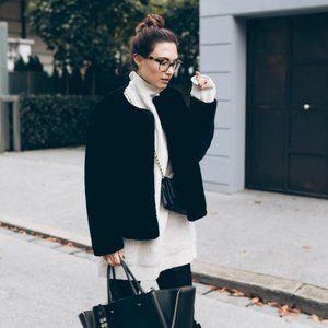 Black Zara Faux Fur Jacket